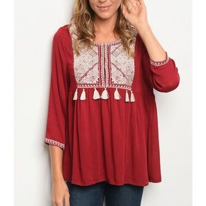 Tops - Embroidered red tunic